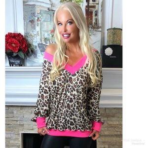 KFab Designs Tops - LAST 2! Pink and Leopard Print Top